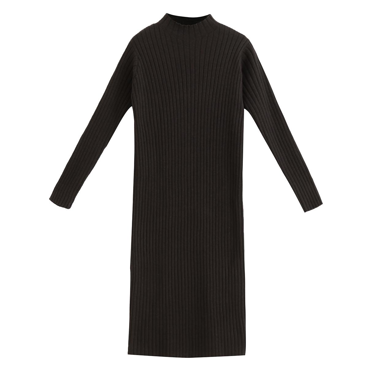 针织港味长袖连衣裙女小黑裙中长款黑色chic打底复古秋冬毛衣裙子