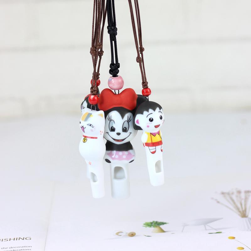 卡通龙猫猴子陶瓷项链 萌系陶瓷吊坠情侣口哨项链陶瓷饰品 可吹响