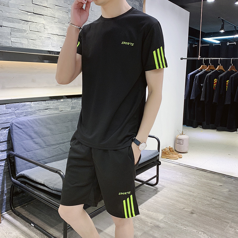 Summer 2020 ins new trend T-shirt casual suit for boys and teenagers Korean version of versatile shorts mens sportswear