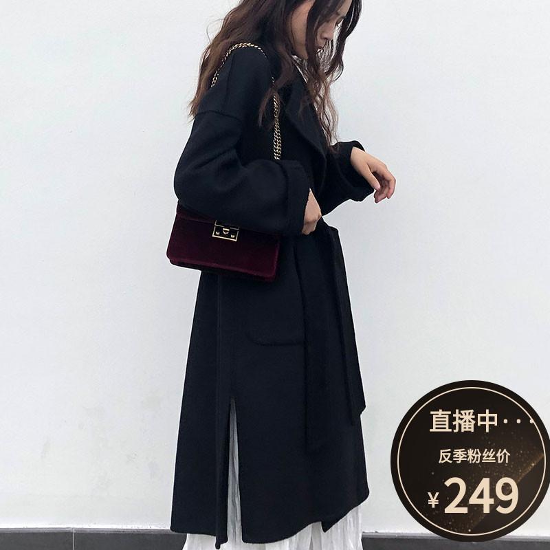 2020秋冬季流行新款双面羊绒大衣女中长款显瘦宽松黑色羊毛呢外套图片