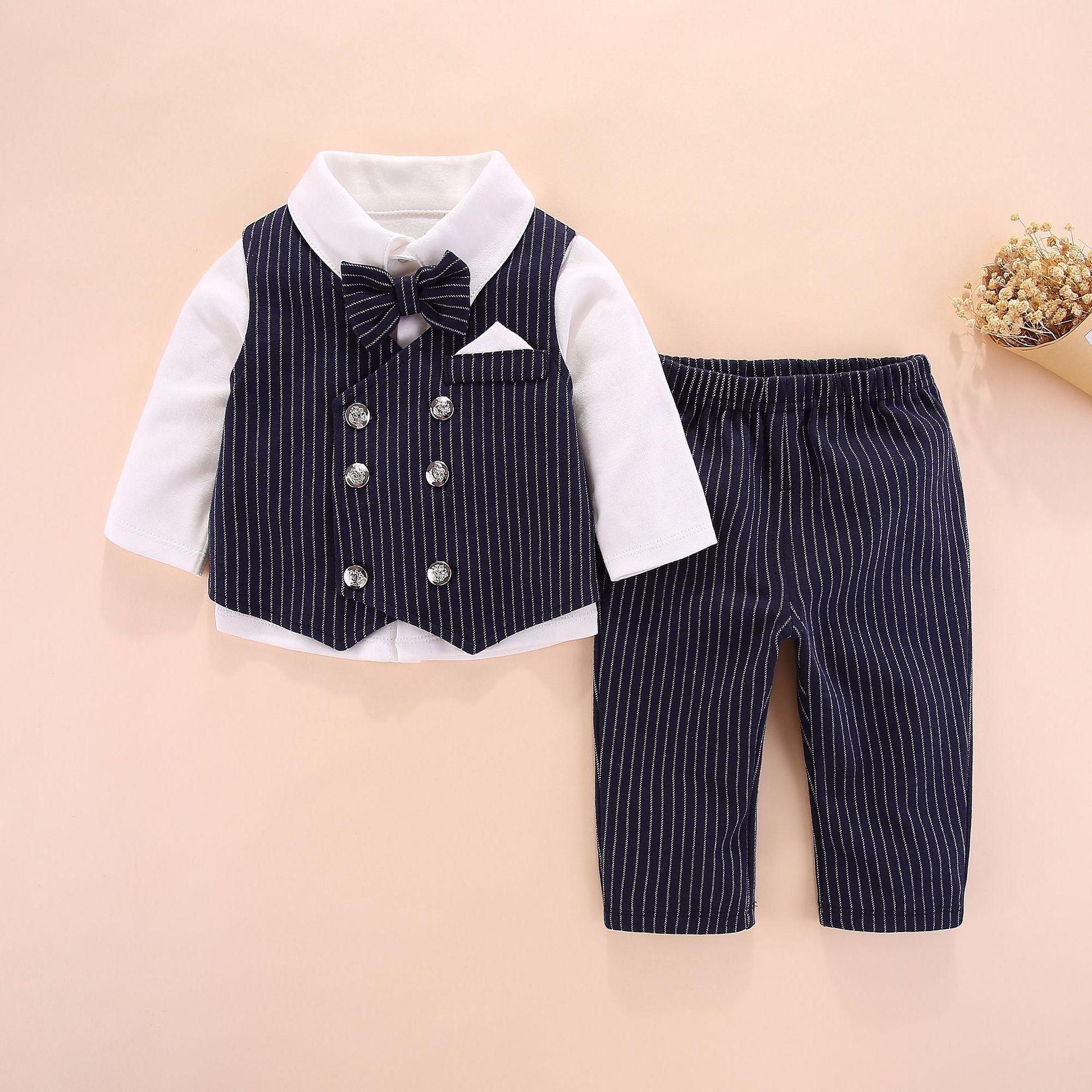 2020新款婴儿衣服英伦绅士三件套男宝宝哈衣套装西装礼服童装春秋