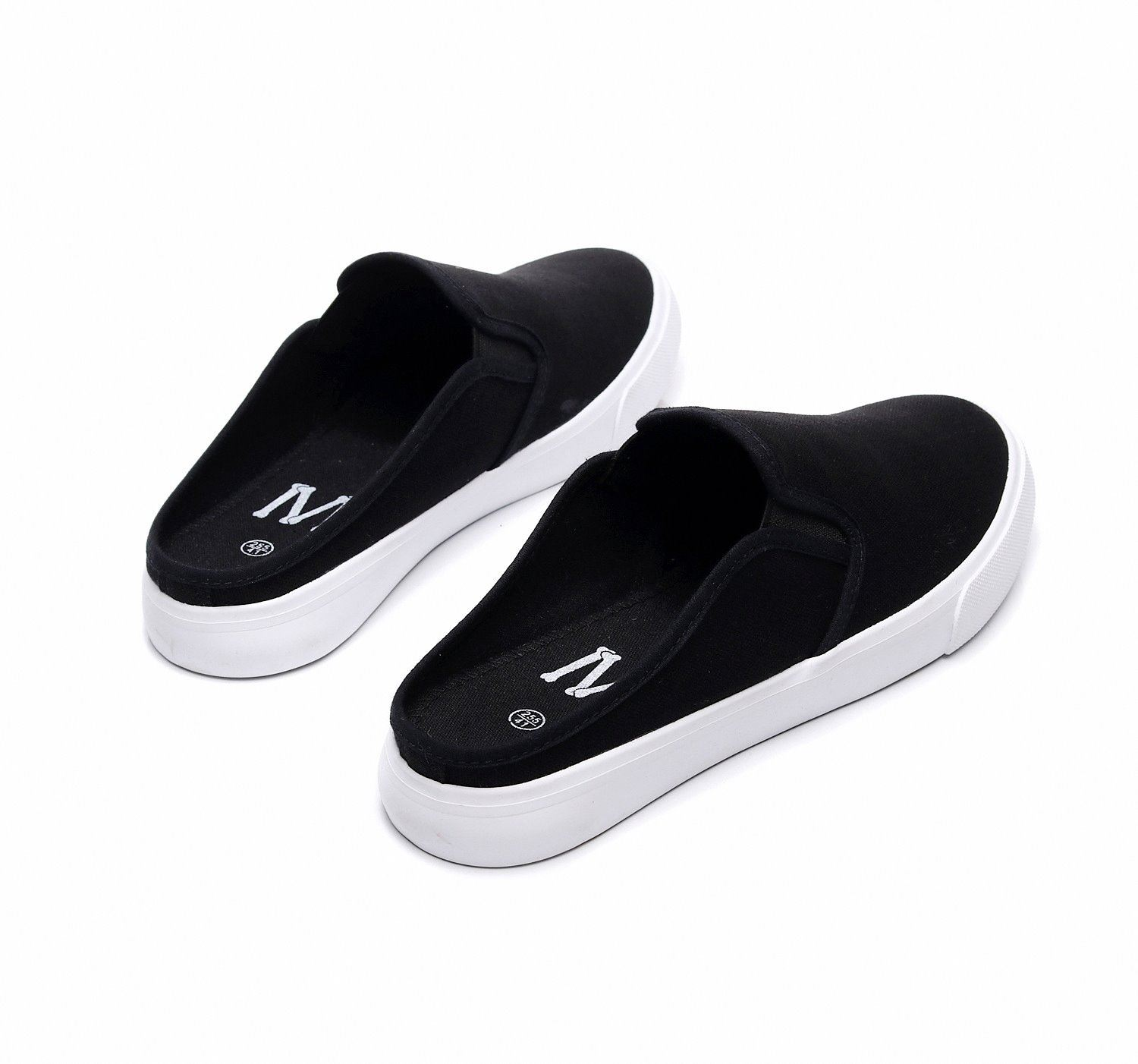 Low top 2021 mens spring and summer slippers flat bottom half pedal lazy shoes youth canvas shoes Korean casual mens shoes