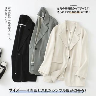 日韩女装批发2020早春新款一粒扣大口袋纯色休闲西装外套女F214