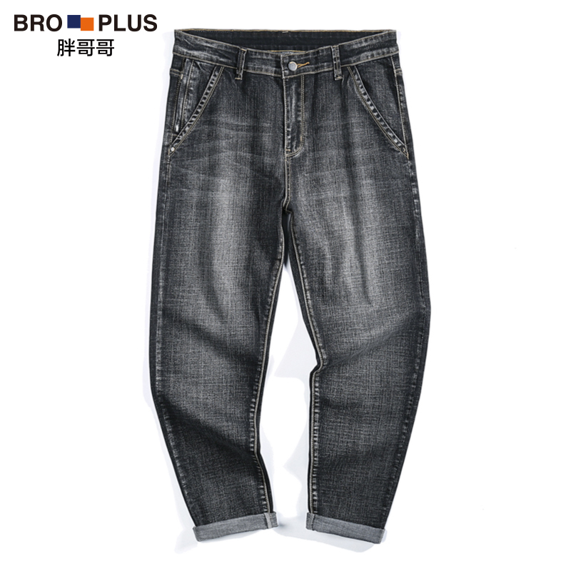 Autumn and winter trendy fat mens extra size youth black grey ground white loose straight jeans 180 kg 210 kg
