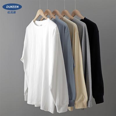 重磅长袖t恤 男纯棉厚实宽松潮纯色白色秋冬季卫衣日系圆领打底衫