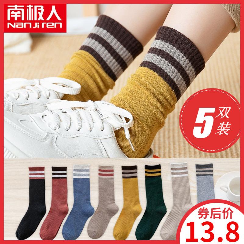 堆堆袜子女中筒袜韩国ins潮街头秋季日系长筒韩版秋冬网红款长袜