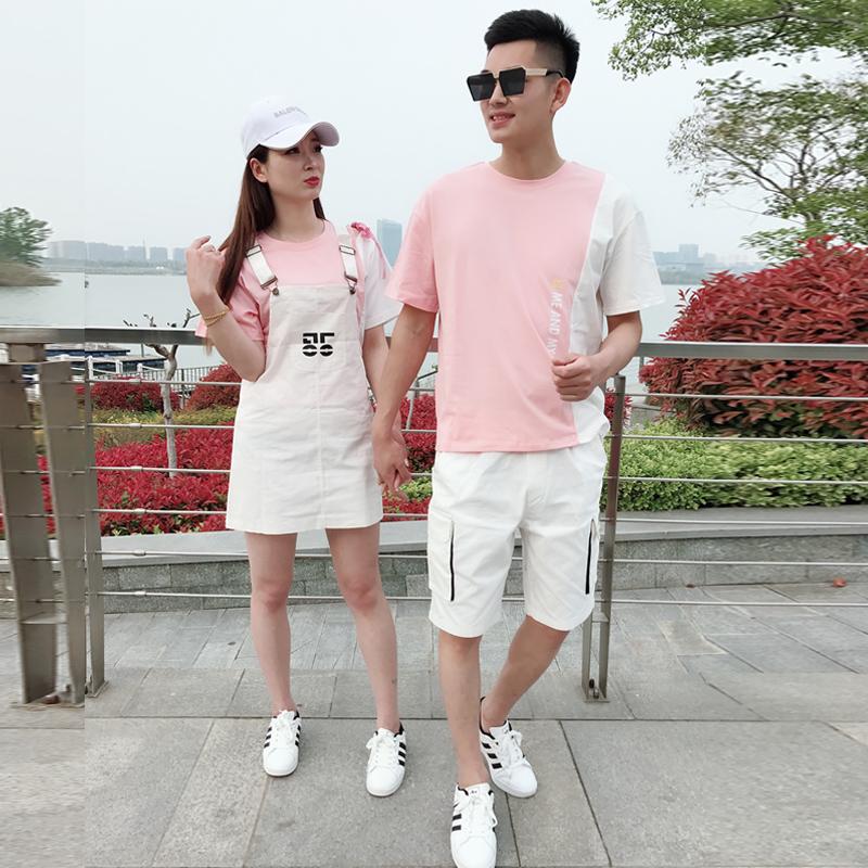 情侣夏季休闲工装套装韩版潮流男士短袖t恤2两件套女生修身背带裙