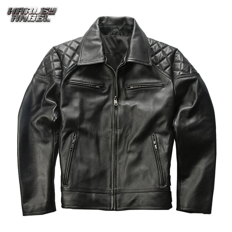 Harley Angel spring new leather jacket lapel cowhide motorcycle leather casual leather leather mens wear