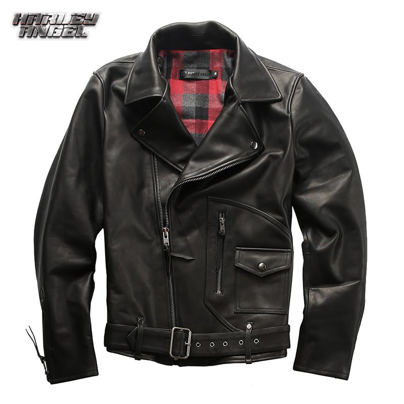 Halley Angel autumn and winter new leather jacket mens oblique zipper pocket design locomotive leather coat