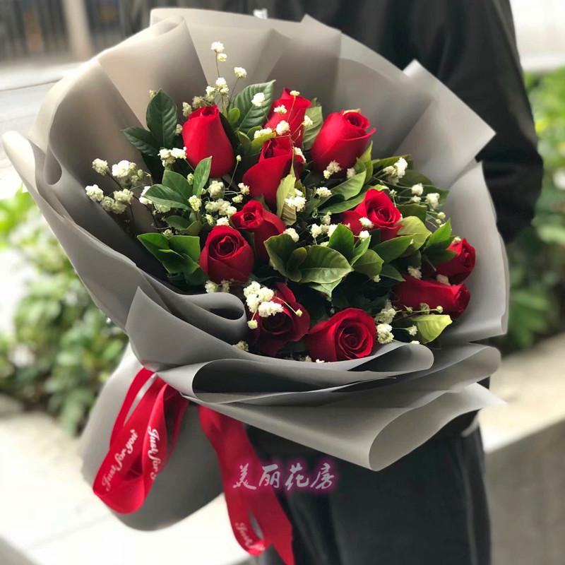 11朵19朵33朵真花鲜花店同城速递玫瑰花束广东中山生日礼盒送花。