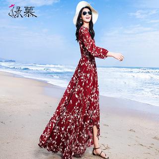 绿慕春装新款2019夏季印花雪纺连衣裙女气质长裙海边度假沙滩裙子