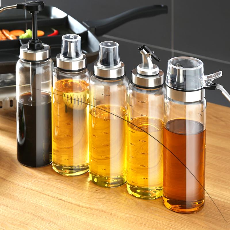 油壶油瓶玻璃防漏大号香油酱油醋瓶家用调味料瓶油罐厨房用品套装