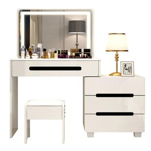 卧室梳妝枱帶燈現代簡約宜家北歐風化妝台 小型女網紅ins風化妝桌