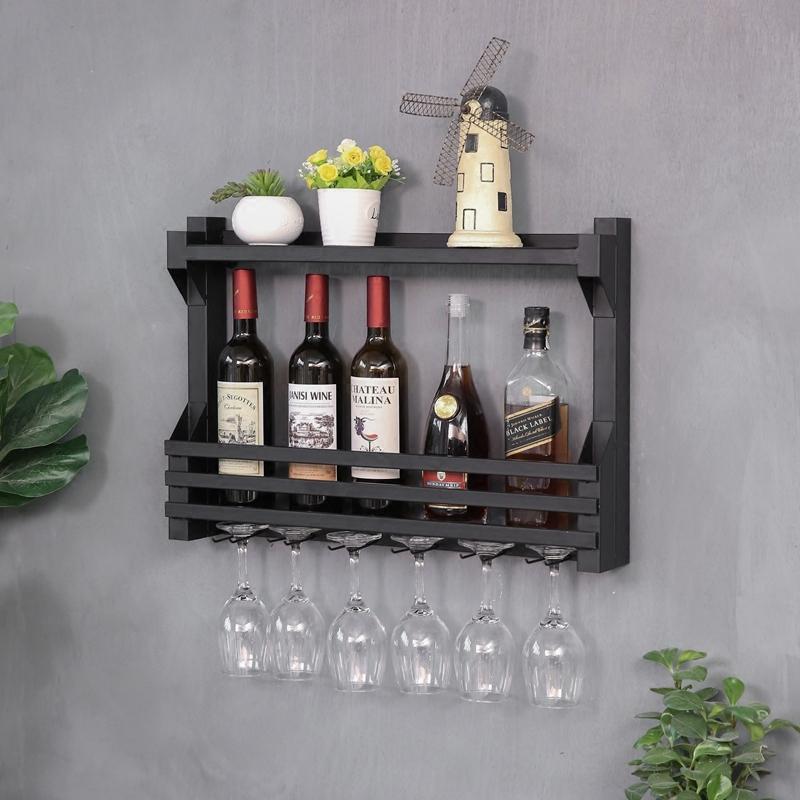 欧式铁艺酒架壁挂红酒架墙上置物架创意装饰餐厅红酒柜酒杯架悬挂