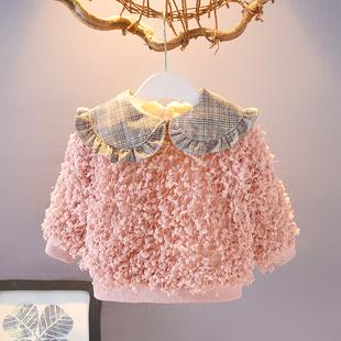潮洋气婴儿打底衫 冬保暖女宝宝加绒加厚绒衫 韩版 女童卫衣2021新款