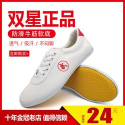 双星武术鞋男太极鞋女帆布牛筋底练功鞋儿童武术训练表演鞋运动鞋