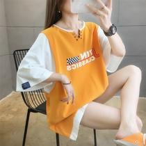 加肥加大码女装韩版短袖t恤女夏纯棉宽松胖mm半袖大版上衣服v领潮