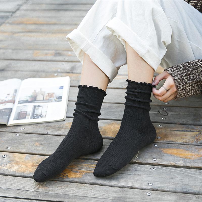 堆堆袜子女韩国纯棉中筒袜秋冬季糖果色松口运动长筒日系花边女袜11月09日最新优惠