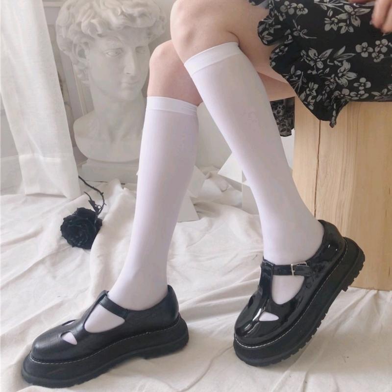 jk制服小腿袜过膝中筒薄款白色丝袜袜子女日系显瘦长袜天鹅绒瘦腿