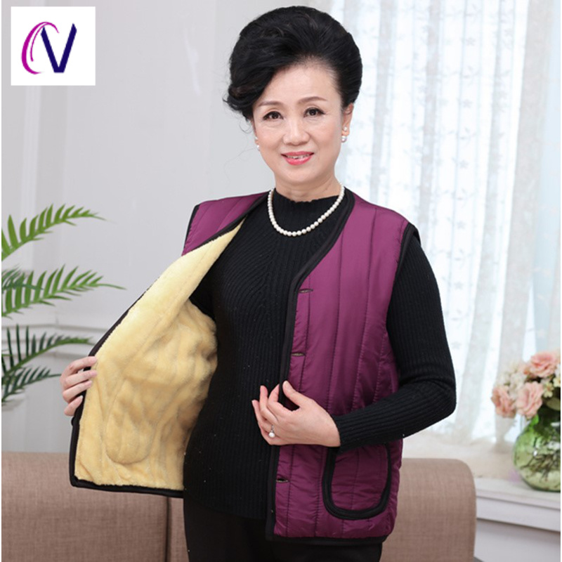 Mothers vest vest vest womens fat clothes Korean version large thickened middle aged peoples jacket casual jacket autumn and winter