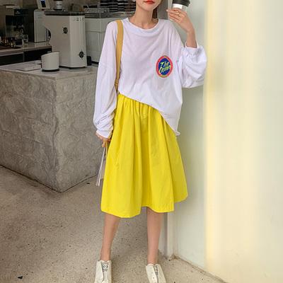 柠檬黄色高腰半身裙2021韩国夏日纯色清新A字大摆裙ins超火蓬蓬裙