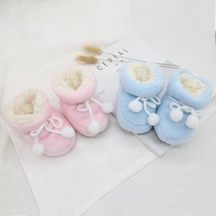 0-6-12个月婴儿软底学步前鞋袜秋冬季1岁男女9新生儿防掉宝宝棉鞋