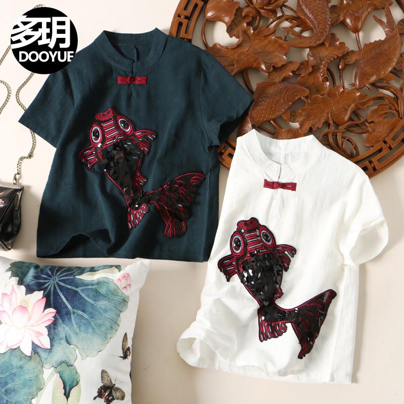 多�h民族风2018新款锦鲤钉珠刺绣棉麻套头上衣 中国风盘口立领T恤