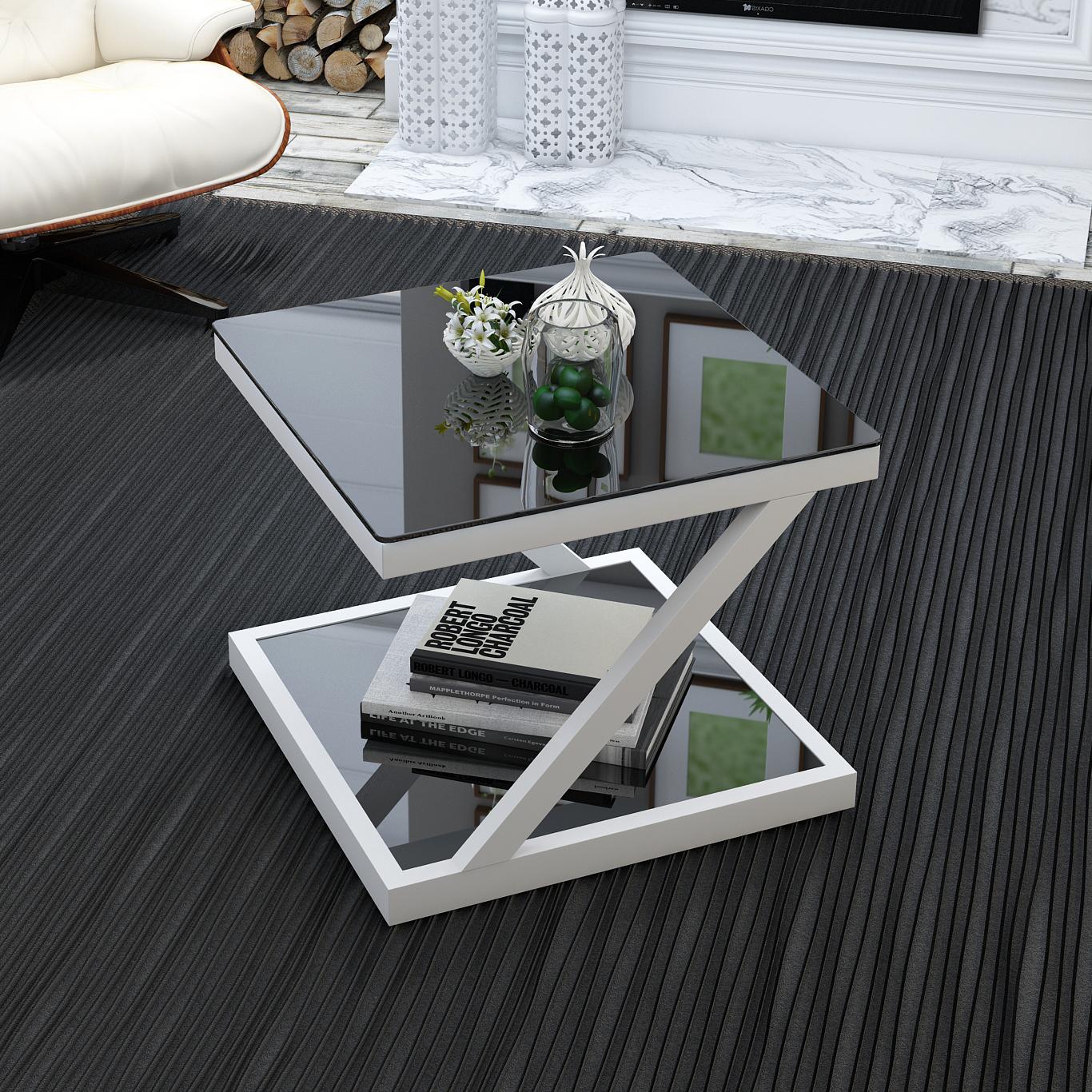 Простой современный сторона закалённое стекло маленький столик площади творческий угловой гостиная стол нордический диван телефон кабинет