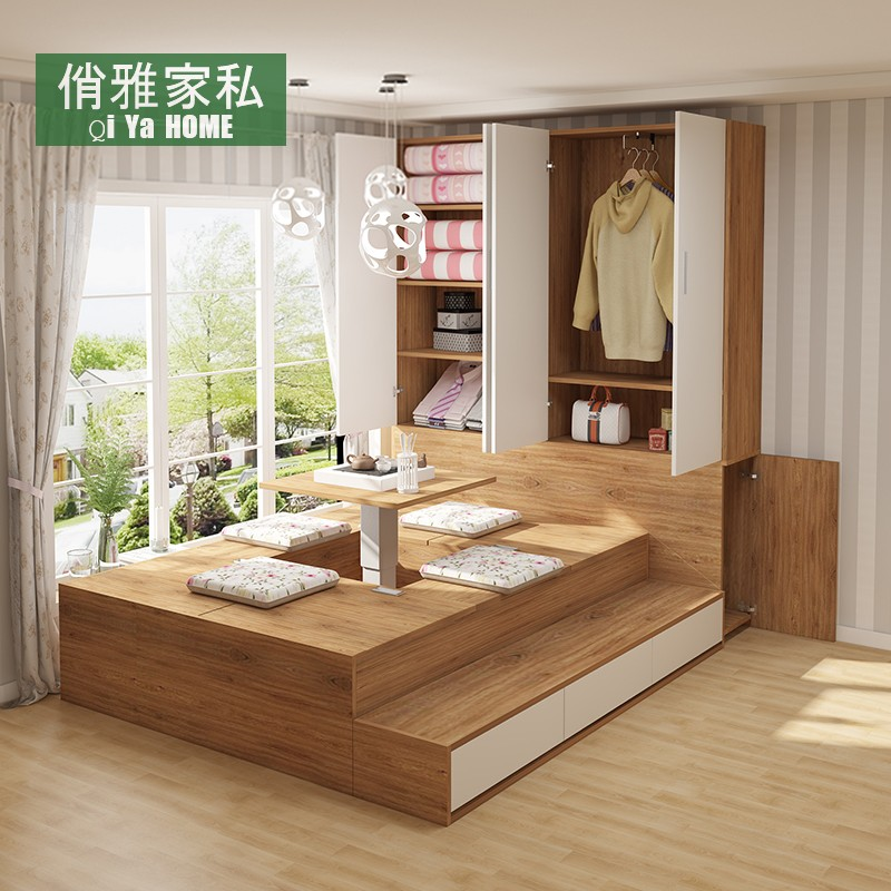 Japanese tatami floor bed simple modern tatami bed wardrobe integrated storage double bed high box storage bed