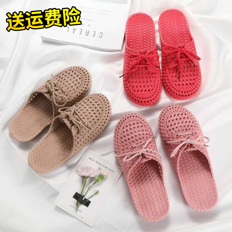 Sandals and slippers dual purpose women wear out to work plastic indoor spring and summer anti-skid hollow out semi slippers beach shoes at home