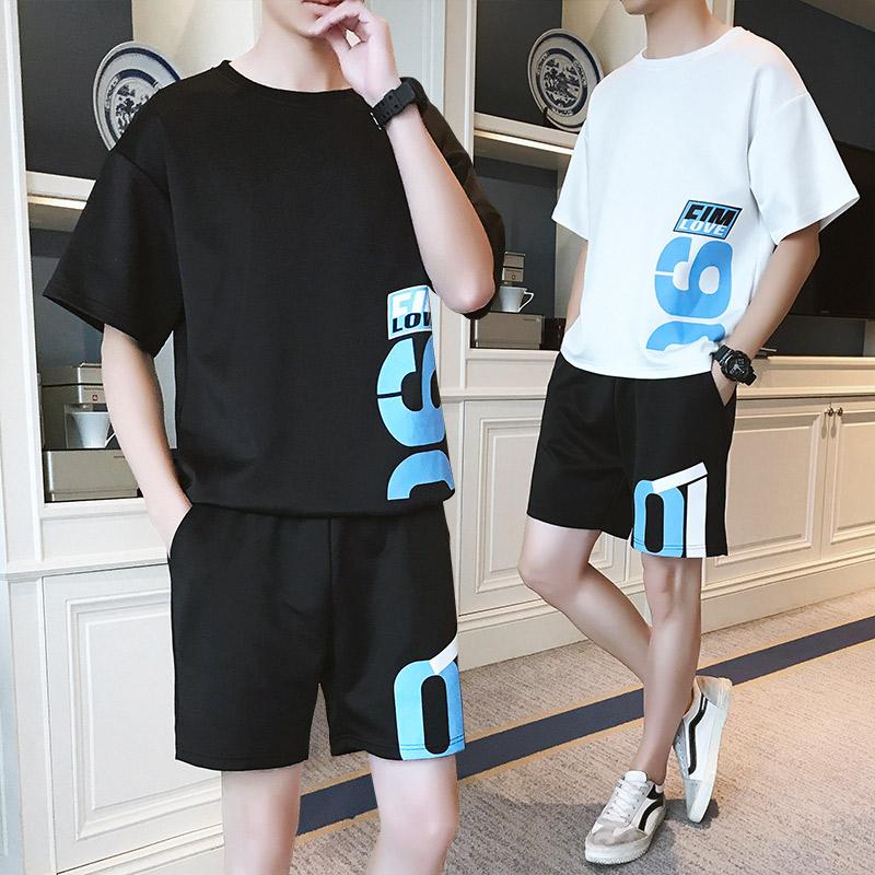 夏季短袖男士运动套装青少年韩版T恤潮流中学生宽松休闲装两件套