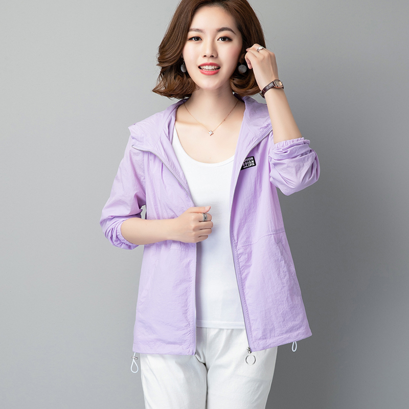 Middle aged womens sun proof clothes loose mesh breathable double layer sunscreen clothing 40 years old 50 summer mom short thin coat