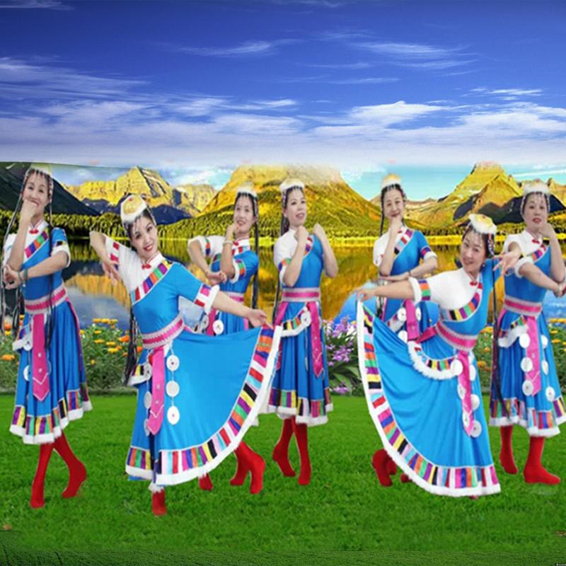藏族舞蹈表演服装女刘荣广场舞套装中老年少数民族风演出服连衣裙