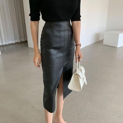 2021韩国春季新款百搭显瘦高腰包臀开叉直筒中长裙半身裙PU皮裙子