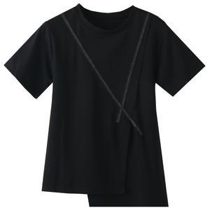 遮肚洋气小衫女高档不规则拼接t恤