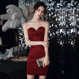 抹胸敬酒服新娘2021新款小个子夏季酒红色订婚晚礼服短款宴会性感