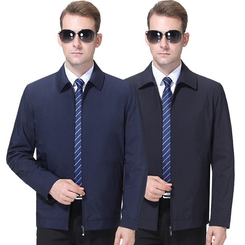 新款春秋季翻领男装夹克商务休闲上衣中老年时尚外套一件起批