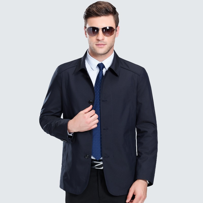 Hot selling loose jacket mens spring new brand fathers Lapel mens thin jacket middle age casual coat