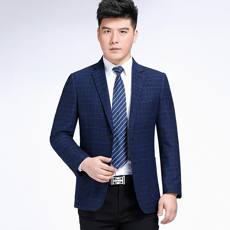 Middle aged suit coat spring and autumn business leisure Plaid single west high grade white collar mens suit one grain double breasted