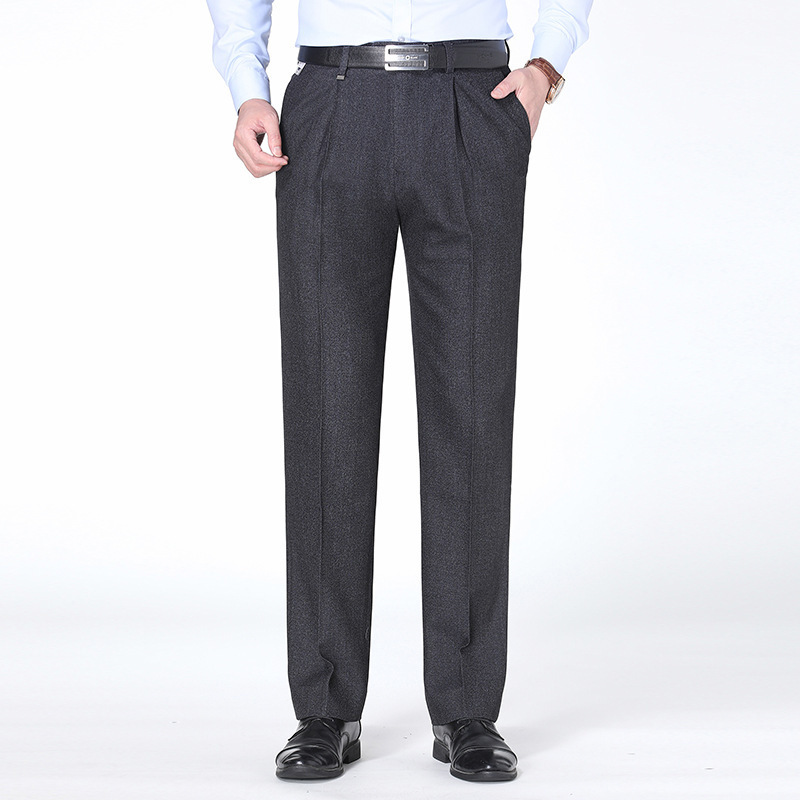 Autumn mens trousers middle aged and old mens business formal clothes elastic thick high-grade suit pants male ouana leisure