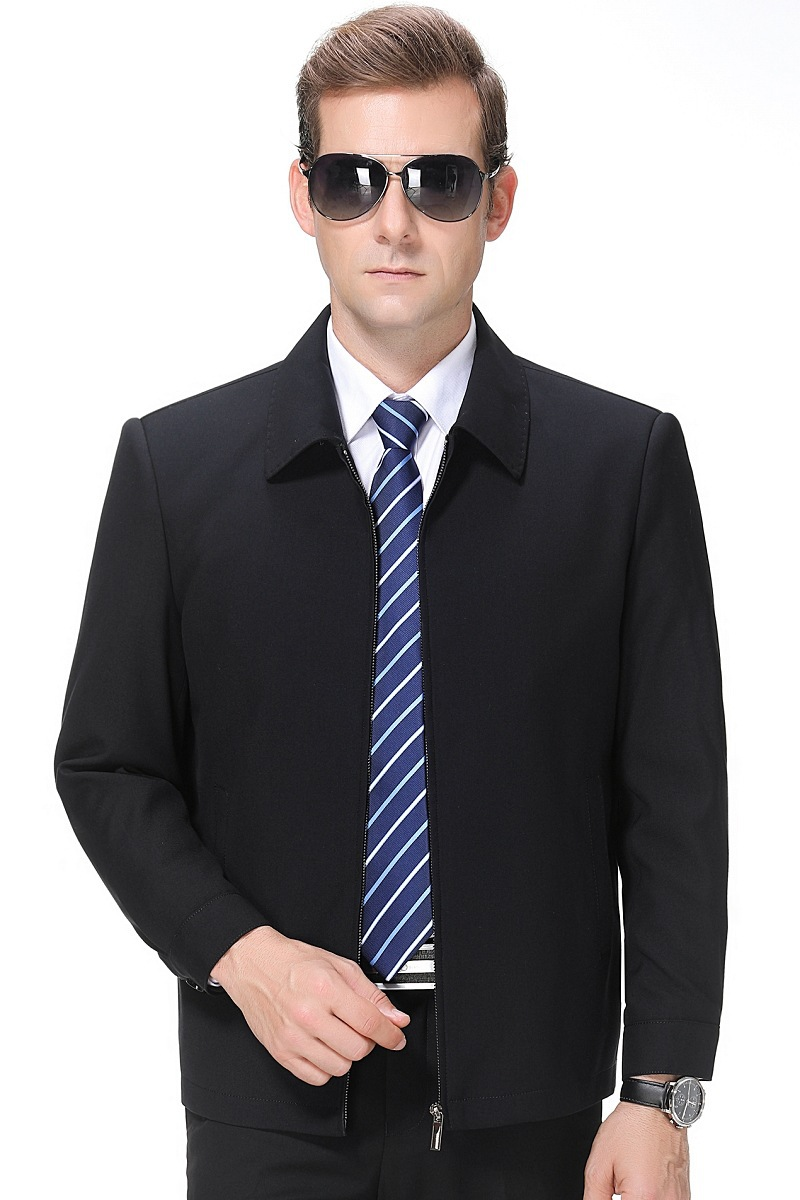 New high-end middle-aged mens jacket mens business leisure Lapel middle-aged mens autumn winter coat mens jacket