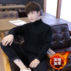 加绒毛衣 秋冬半高领打底百搭韩版针织毛衣 黑色 A161-MY16A-P55