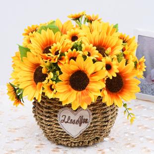 饰 仿真花朵向日葵盆栽塑料花束插花艺客厅餐桌茶几摆设摆件假花装
