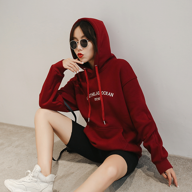 2020 new hooded sweater womens wine red pullover thin Slouchy wind early autumn tide Plush thick coat women