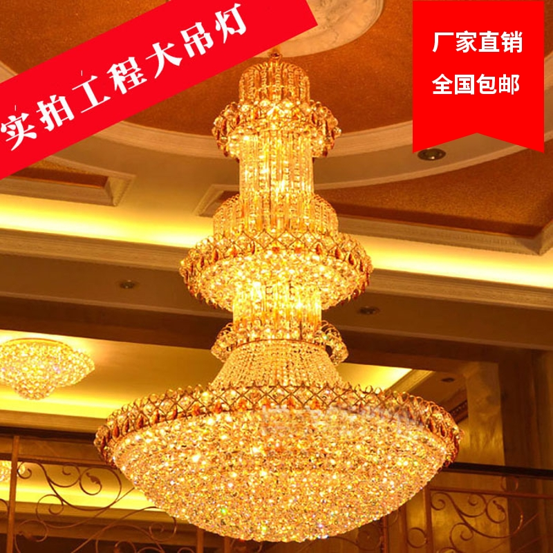 Luxury villa, duplex building, living room, multi-storey crystal chandelier, hotel building, staircase, 3 meters long hanging lamp