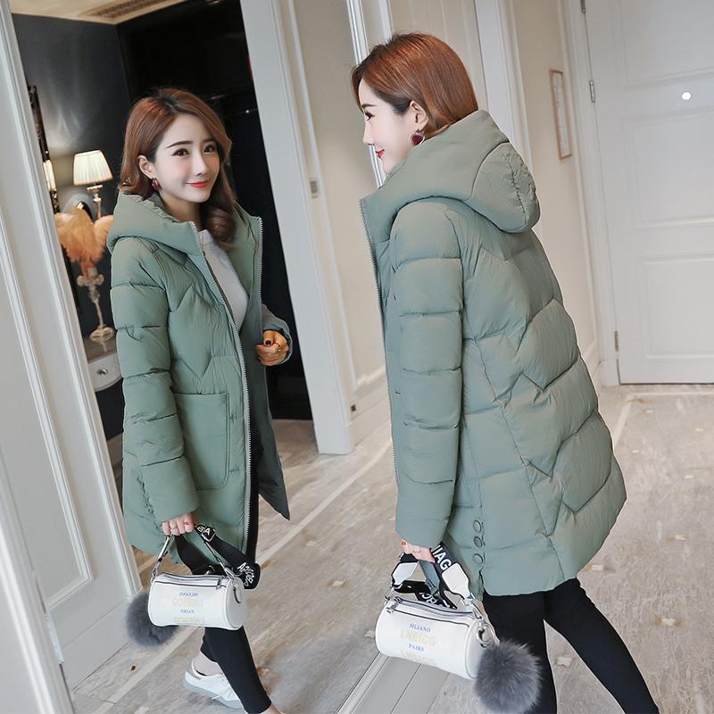 反季羽绒棉衣女2020新款韩版冬季中长款棉服宽松加厚连帽面包服棉