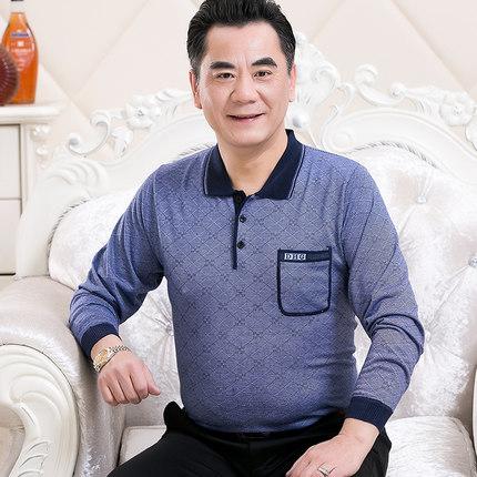 中老年男士春装长袖t恤爸爸装薄款体恤中年40-50岁打底衫休闲上衣