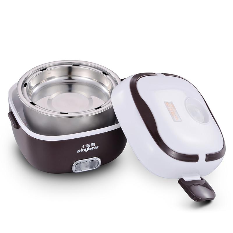 小玩熊電熱飯盒雙層保溫加熱蒸煮不鏽鋼便當盒迷你可插電加熱飯器