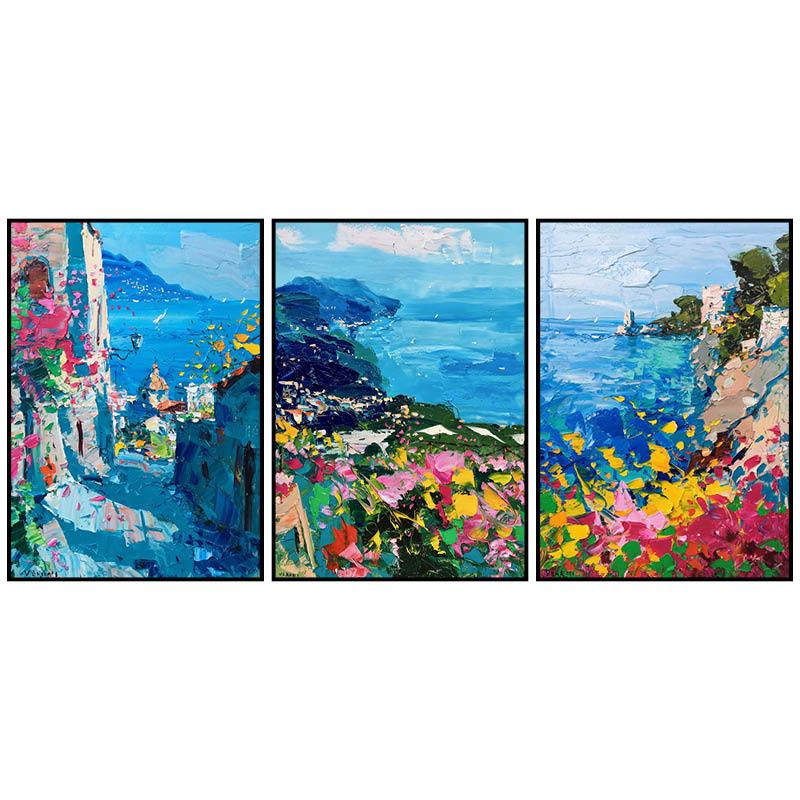 纯手绘油画 春暖花开 现代北欧地中海风景美式客厅装饰画三联挂画