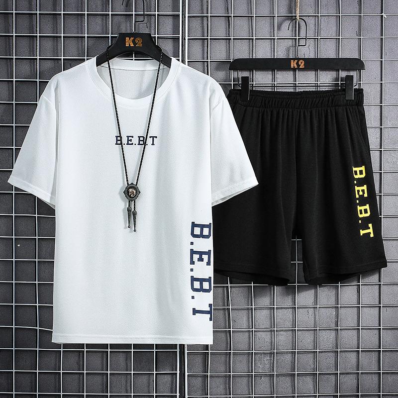 夏季男士t恤休闲运动潮流套装学生帅气韩版短袖速干ins港风上衣潮